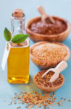 Flax seeds and linseed oil Stock Photos