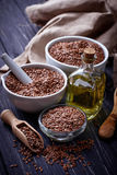 Flax seeds and linseed oil Royalty Free Stock Images