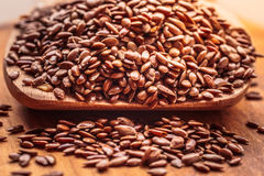 Flax seeds linseed on wooden spoon Royalty Free Stock Photos