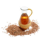 Flax seeds and oil Royalty Free Stock Photo