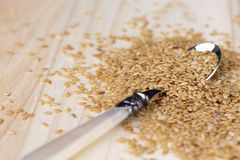 Flax seeds piled in a spoon. Flax seeds piled in a metal spoon on a wooden background stock image
