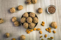 Flax seeds pinni - a punjabi dessert. Pinni is a type of Punjabi and North Indian cuisine dish that is eaten mostly in winters. It is served as a dessert and is royalty free stock photos