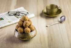 Flax seeds pinni - a punjabi dessert. Pinni is a type of Punjabi and North Indian cuisine dish that is eaten mostly in winters. It is served as a dessert and is royalty free stock images