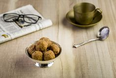 Flax seeds pinni - a punjabi dessert. Pinni is a type of Punjabi and North Indian cuisine dish that is eaten mostly in winters. It is served as a dessert and is stock images