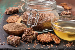 Flax seeds and products thereof Stock Photos