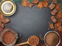 Flax seeds and products thereof Royalty Free Stock Photo