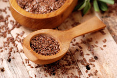 Flax seeds in spoon Stock Photography