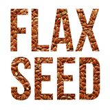 Flax seeds. Text banner over white stock photo