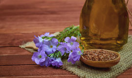 Flax seeds in vintage spoon, linum plants with flower and linse. Ed oil on glass bottle with vintage sackcloth on wooden background. Conceptual photo for royalty free stock photo