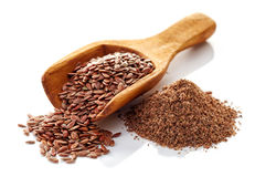 Flax seeds on a white background Royalty Free Stock Photography