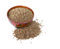 Flax seeds in a wooden bowl. Flax seeds - a useful supplement to healthy food Royalty Free Stock Photography