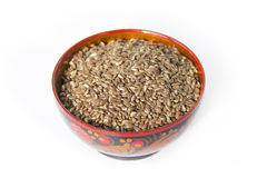 Flax seeds in a wooden bowl. Flax seeds - a useful supplement to healthy food Stock Photo