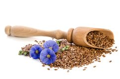 Flax seeds in the  wooden scoop and beauty flowers Royalty Free Stock Image