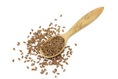 Flax seeds in a wooden spoon Stock Photos