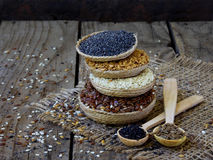Flax, sesame, caraway and poppy seeds Royalty Free Stock Photography