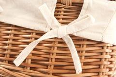 Flax wicker basket Stock Photo
