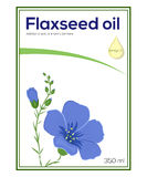 Flaxeed oil label template, sticker. Flaxseed oil label template featuring blooming flax plant and oil drop with words Omega 3 on it Royalty Free Stock Image