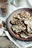 Flaxen bars with sunflower seeds, sesame seeds and spices, healt. Hy snack crackers Stock Photo