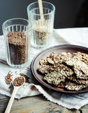 Flaxen bars with sunflower seeds, sesame seeds and spices, healt. Hy snack crackers Stock Image