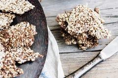 Flaxen bars with sunflower seeds, sesame seeds and spices,select. Flaxen bars with sunflower seeds, sesame seeds and spices, healthy snack crackers,selective Stock Photos