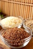 Flaxseed. Transparent bowl with healthy and nutritious flaxseed Stock Photography