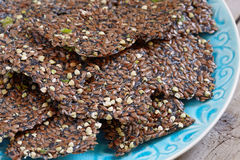 Flaxseed crackers with seaweed Royalty Free Stock Image