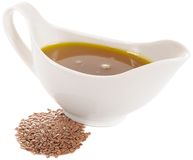 Flaxseed (Linseed) Oil and Flax Seeds Stock Photos
