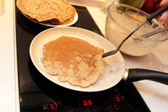 Flaxseed meal pancake. On a brown pan Royalty Free Stock Image