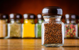 Flaxseeds in Glass Royalty Free Stock Images