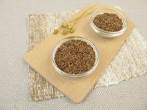 Flaxseeds and ground flaxseeds Royalty Free Stock Photos