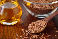 Flaxseeds and linseed oil. Stock Photography
