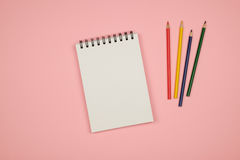 Flay lay picture with blank notepad page Royalty Free Stock Photography