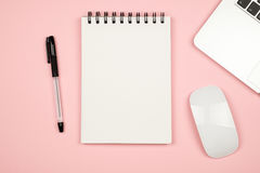 Flay lay picture with blank notepad page Stock Images