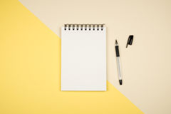 Flay Lay Picture With Blank Notepad Page Stock Photography