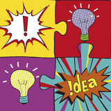 在流行艺术样式的想法难题 海报flayer盖子小册子的创造性的电灯泡想法概念背景设计,企业想法 库存照片