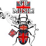 Flayer with beetle colored in British flag in headphones symbol Royalty Free Stock Images