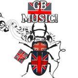 Flayer com o besouro colorido na bandeira britânica no símbolo dos fones de ouvido Imagens de Stock Royalty Free