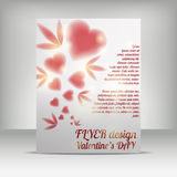 Flayer design valentin. Valentins day flayer design, letter format, red hearts Stock Illustration