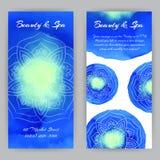 Flayer met Blauwe Lotuses Royalty-vrije Stock Afbeeldingen