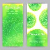 Flayer met Groene Lotuses Royalty-vrije Stock Foto