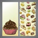Flayers with cupcakes Stock Photos