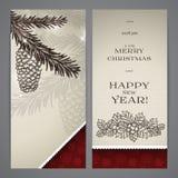 Flayers del buon anno e di Buon Natale Fotografie Stock Libere da Diritti