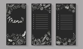 Flayers del menú con las verduras dibujadas mano Fotos de archivo libres de regalías