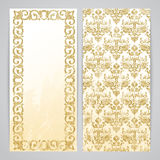 Flayers with floral decor. Floral pattern in gold color Royalty Free Stock Image