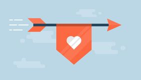 Flaying arrow with a ribbon with a heart shape Royalty Free Stock Images