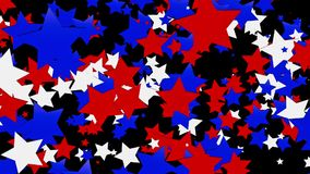 Flaying stars in red,blue and white on black