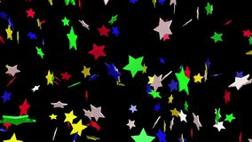 Flaying stars in various colors stock video