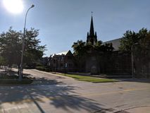 First Lutheran Church in Sioux Falls, South Dakota. FLC is located downtown. FLC offers worship services, classes and supports a community outreach for seniors stock photos