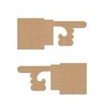 Flèche indicatrice de main de carton Photos libres de droits