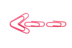 Flèche rose d'isolement de trombone Images stock
